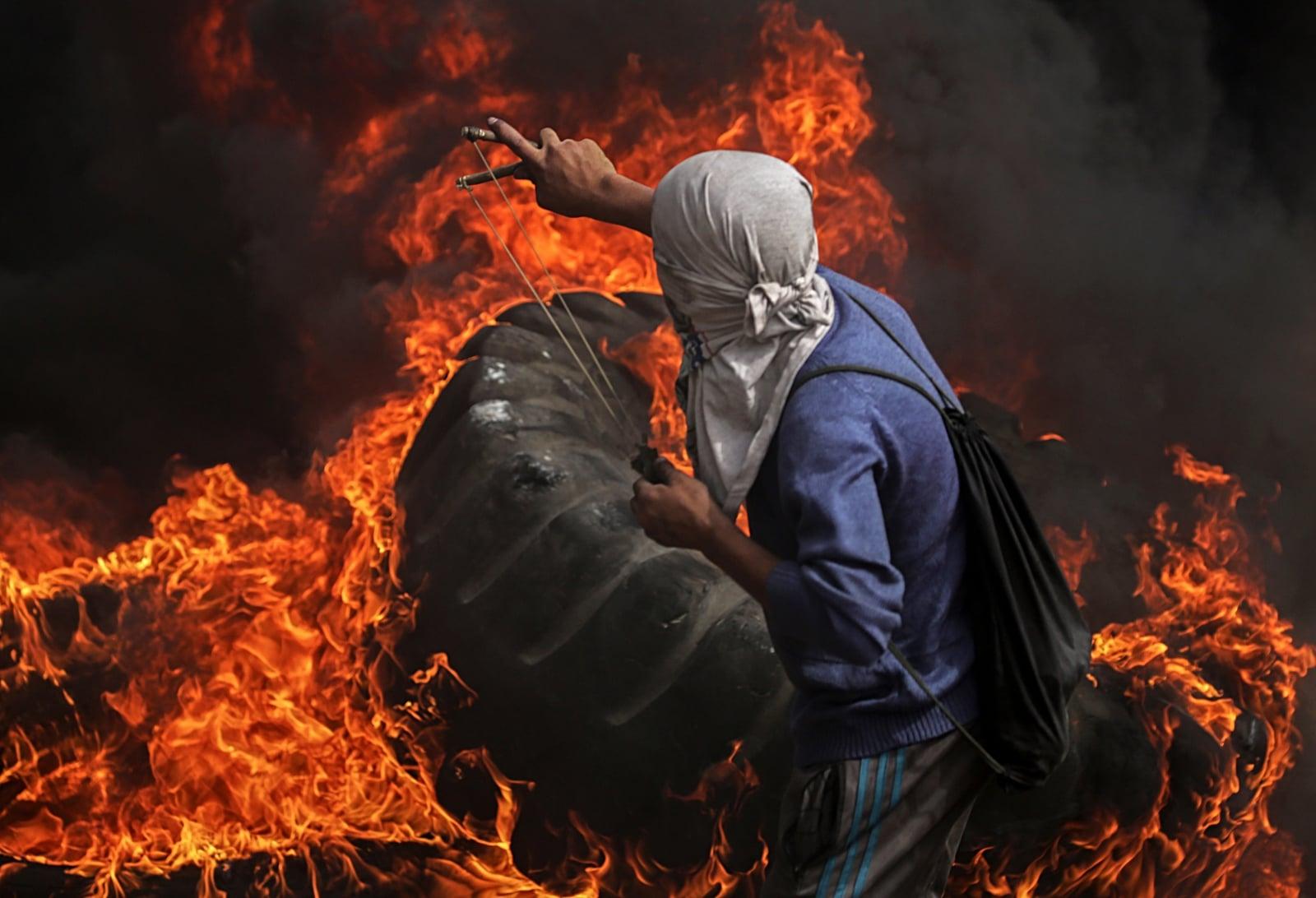 Palestyńskie zamieszki w mieście Gaza.