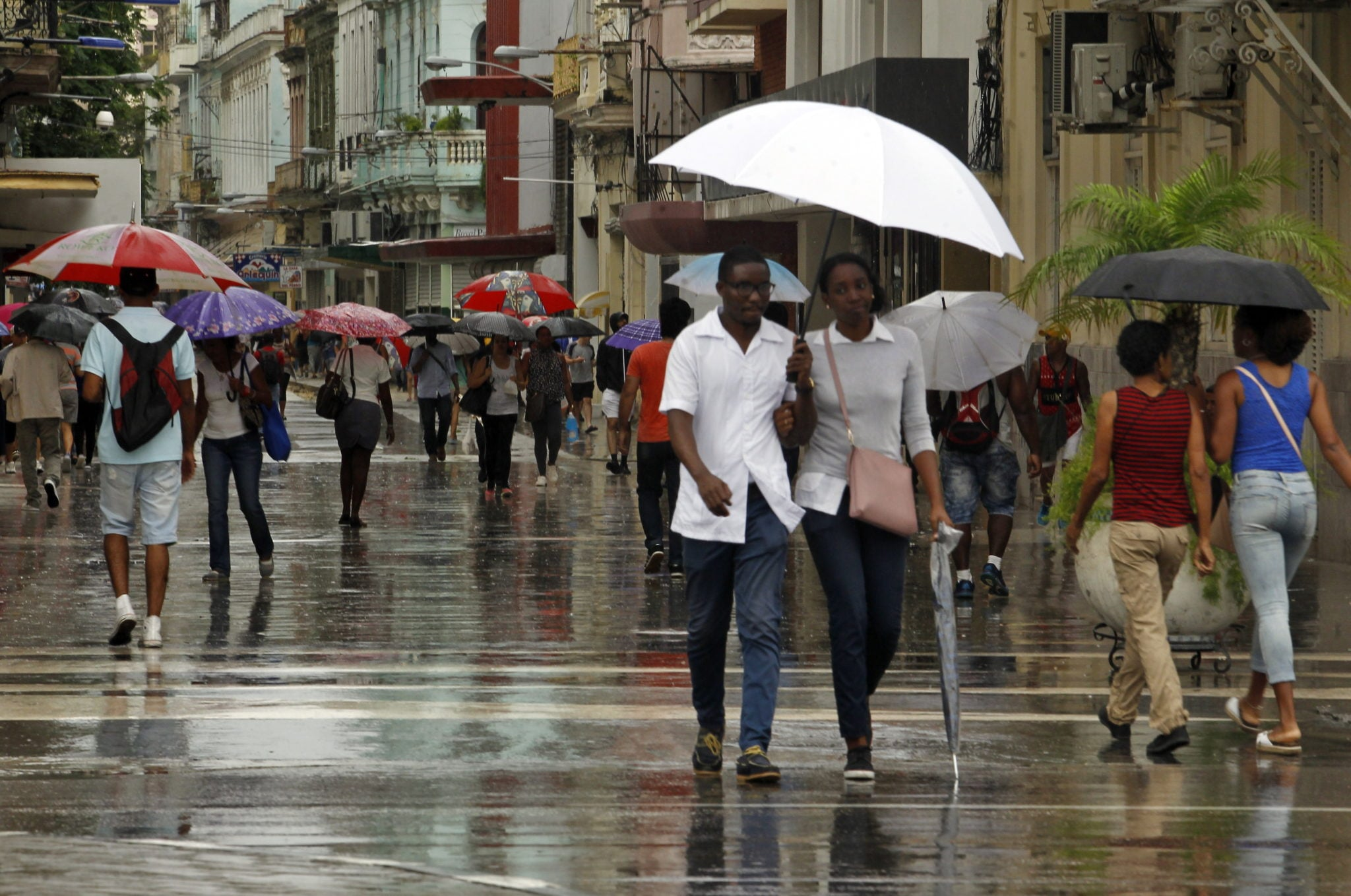 Ulewy w stolicy Kuby, Havanie, Kubę, w ostatnich dniach, odwiedzają też silne wichury, fot: Ernesto Mastrascusa, PAP/EPA fot: