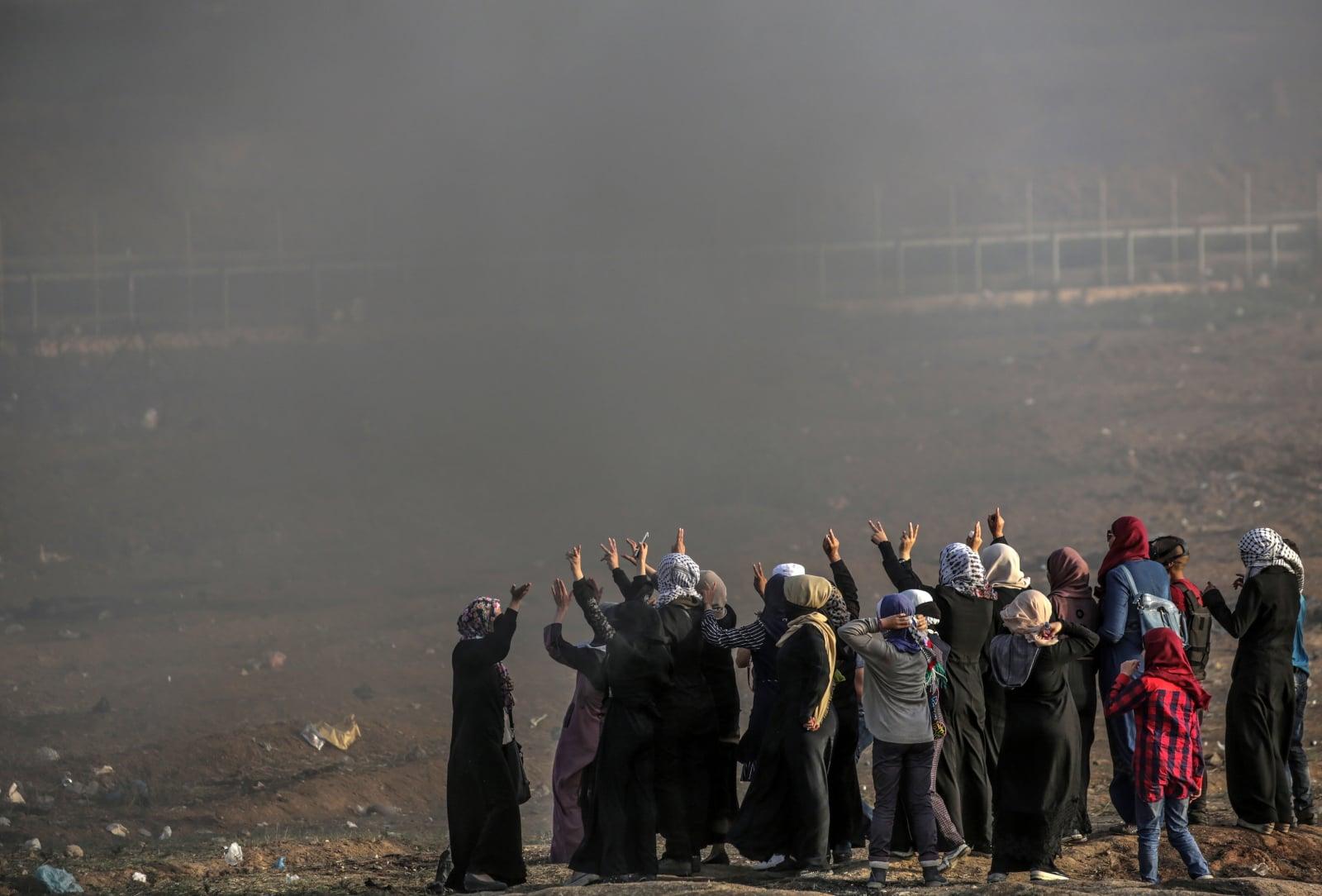 Palestynki protestują w Strefie Gazy