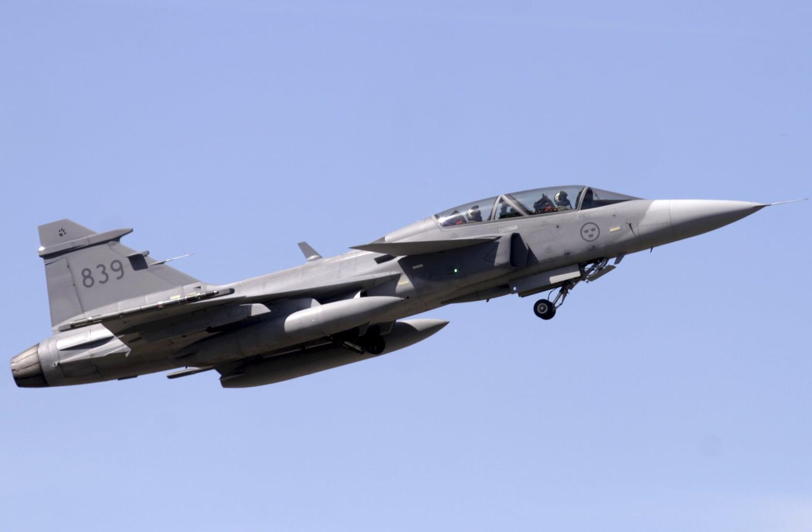 Ćwiczenia szwedzkich sił lotniczych fot. EPA/Valda Kalnina