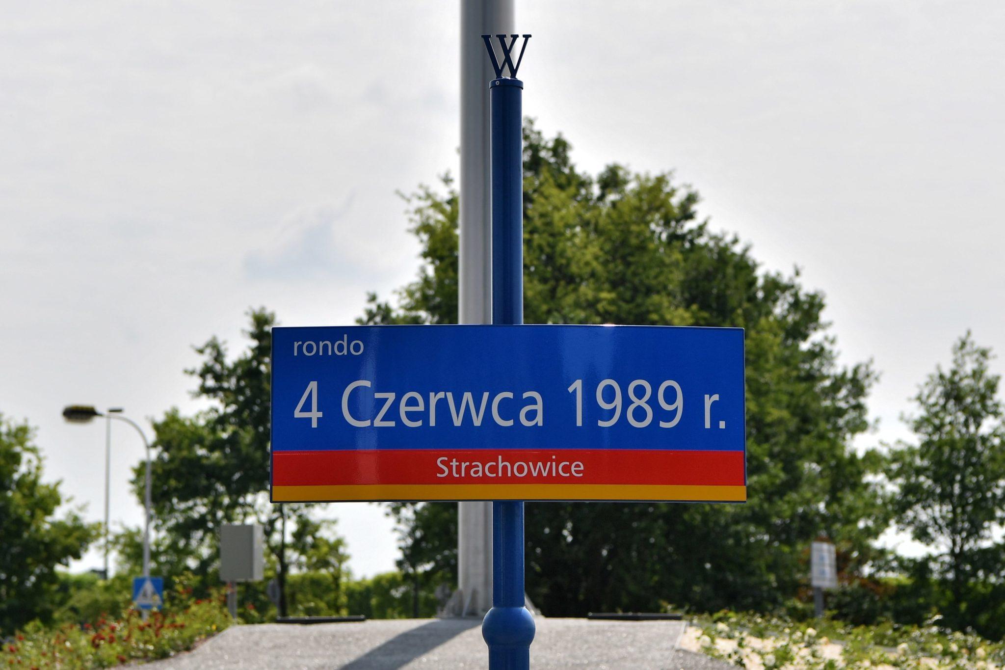 Wrocław: uroczystość nadania nazwy Rondo 4 Czerwca 1989 r., 29. roczniay pierwszej tury wyborów do Sejmu i Senatu, na zasadach ustalonych podczas obrad Okrągłego Stołu; zakończyła się ona zwycięstwem