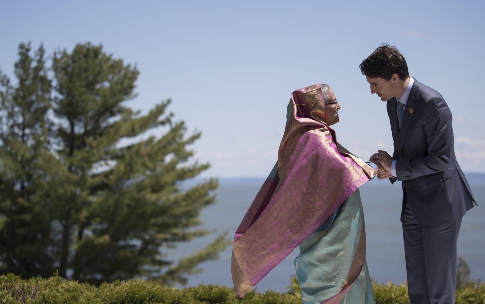 Kanadyjski premier Justin Trudeau wita premier Bangladeszu Sheikh Hasinę na Szczycie G7 w Kanadzie.