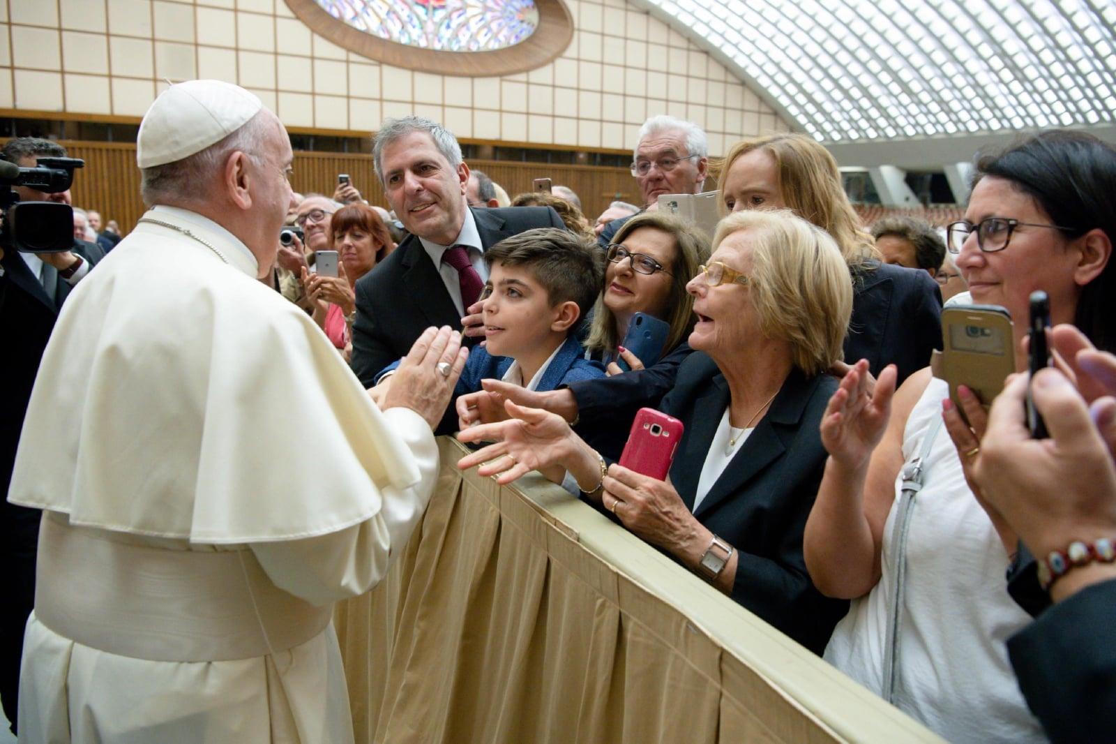 Papież na spotkaniu z Włoską Federacją Pracy fot. EPA/VATICAN MEDIA HANDOUT  HANDOUT EDITORIAL USE ONLY/NO SALES Dostawca: PAP/EPA.