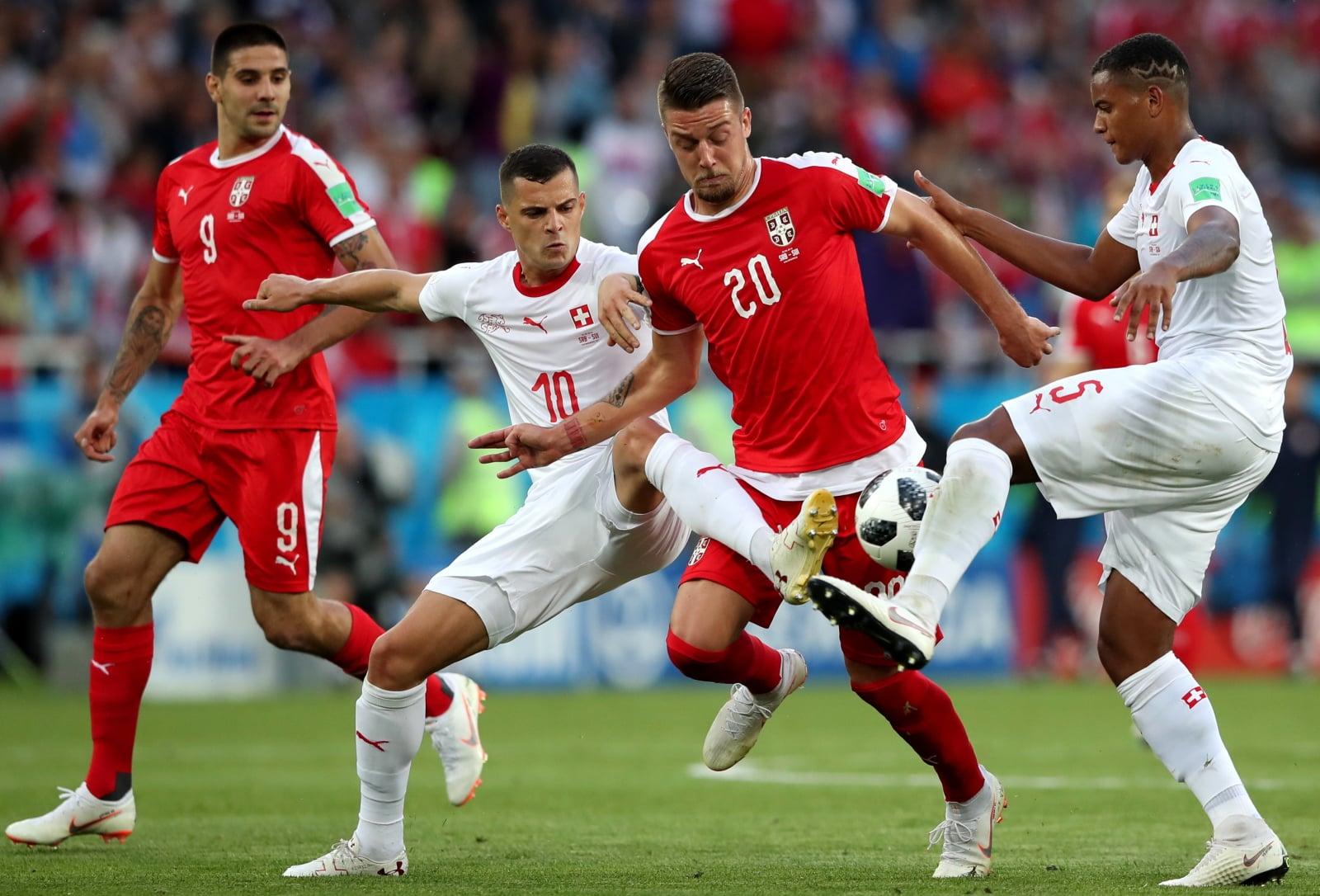 Mecz Serbia vs Szwajcaria. fot. EPA/MARTIN DIVISEK