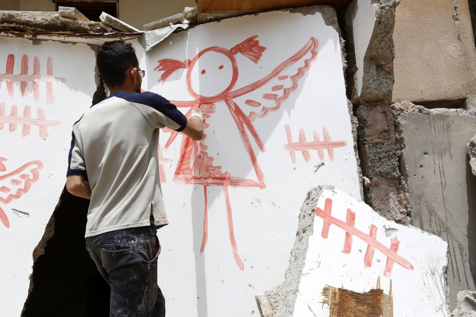 Antywojenne graffiti w Jemenie fot. EPA/YAHYA ARHAB  Dostawca: PAP/EPA.