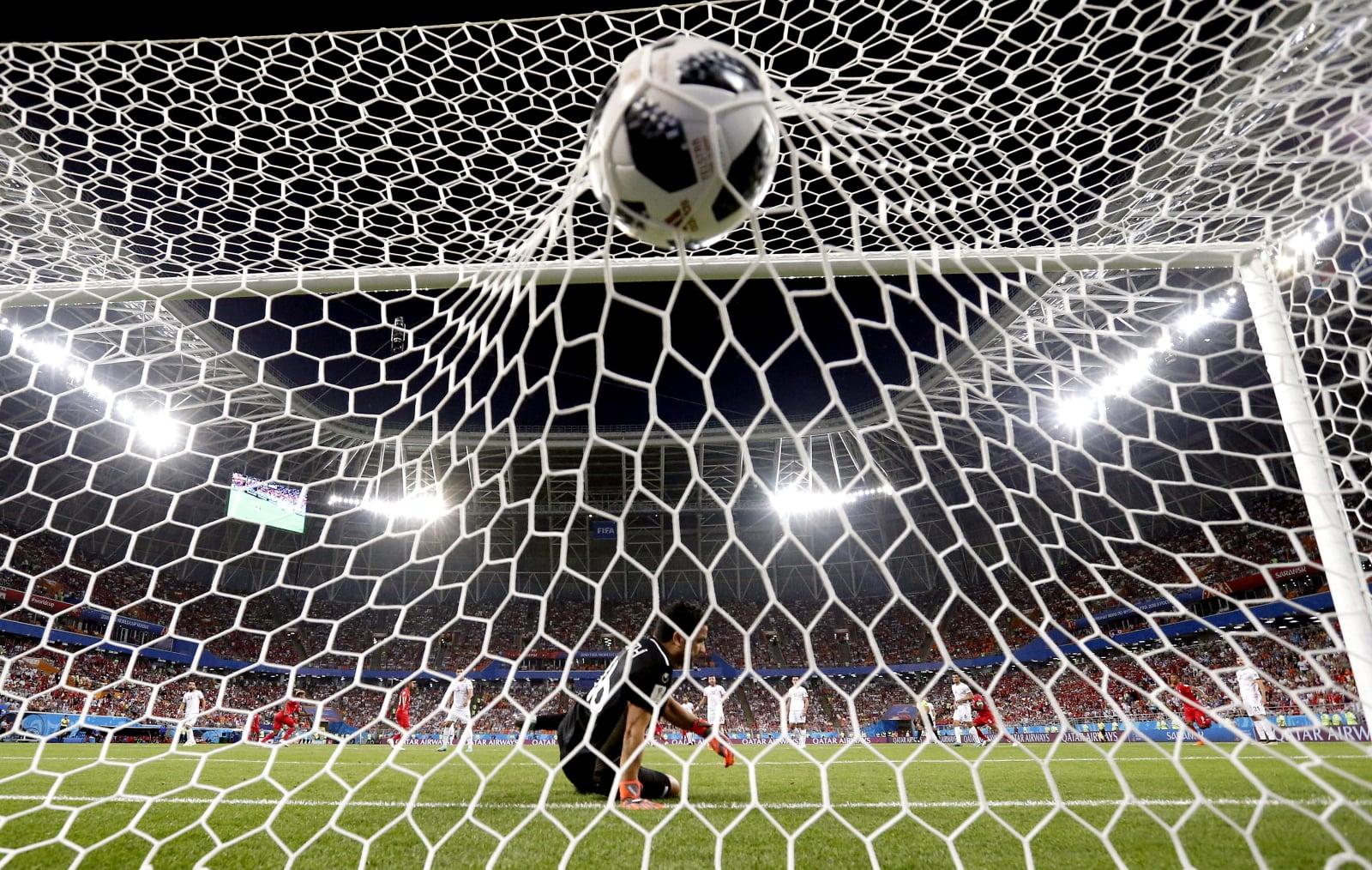 Gol na meczu Tunezja-Panama  EPA/ERIK S. LESSER