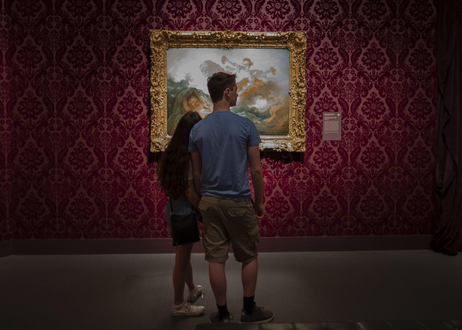 Młoda para przed obrazem  Jean-Honore'a Fragonarda w Bostonie, USA.  PAP/EPA/CJ GUNTHER