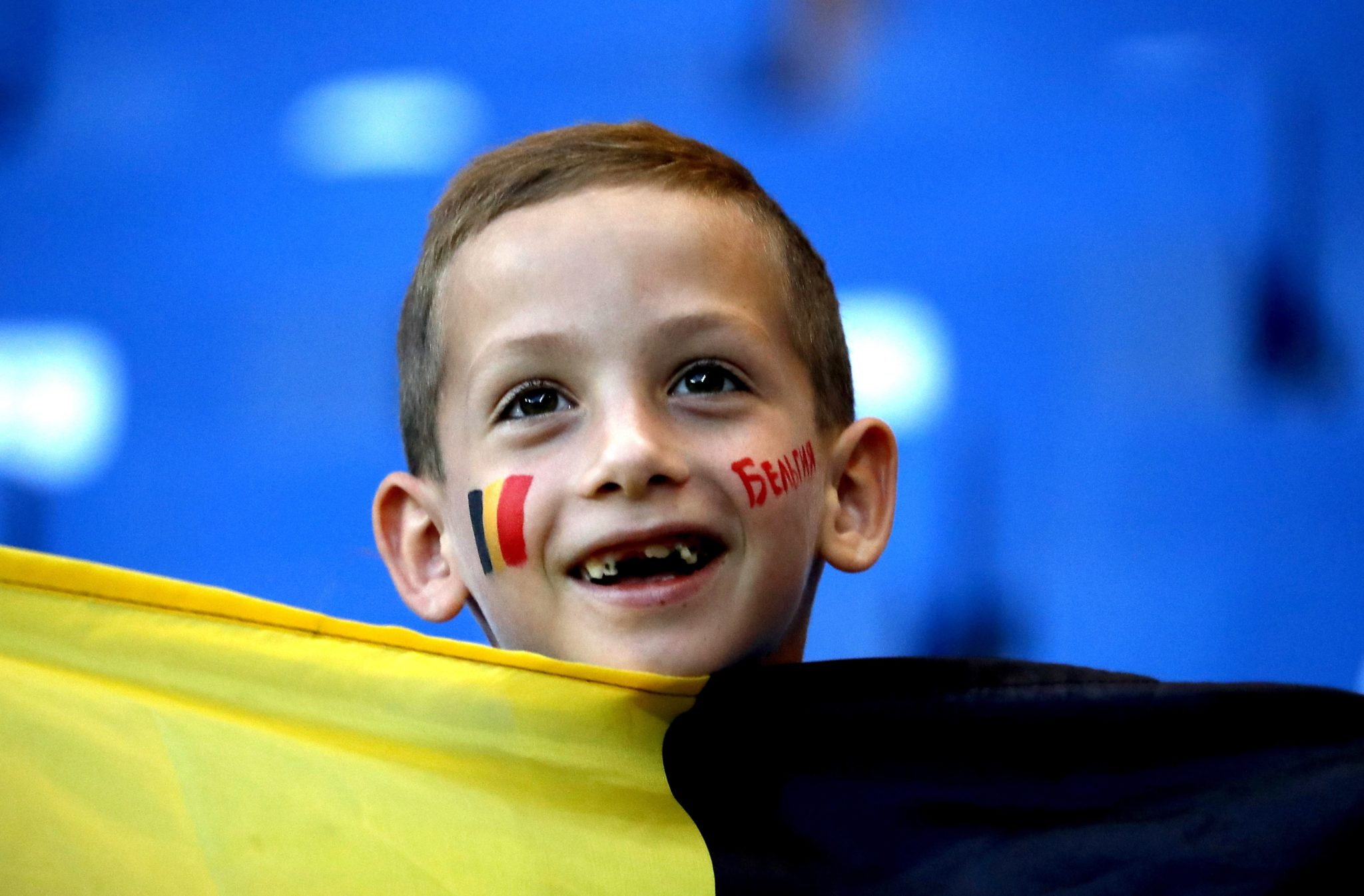 Zdjęcie: kibice belgijskiej reprezentacji, w czasie meczu z Japonią, fot: Stephanie Lecocq, PAP/EPA