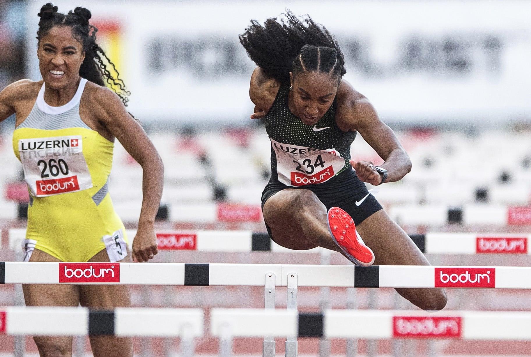 Wyścig kobiet na 100 m przez płotki podczas Międzynarodowego Salonu Lekkoatletycznego w Lucernie w Szwajcarii, fot: Urs Flueeler, PAP, EPA