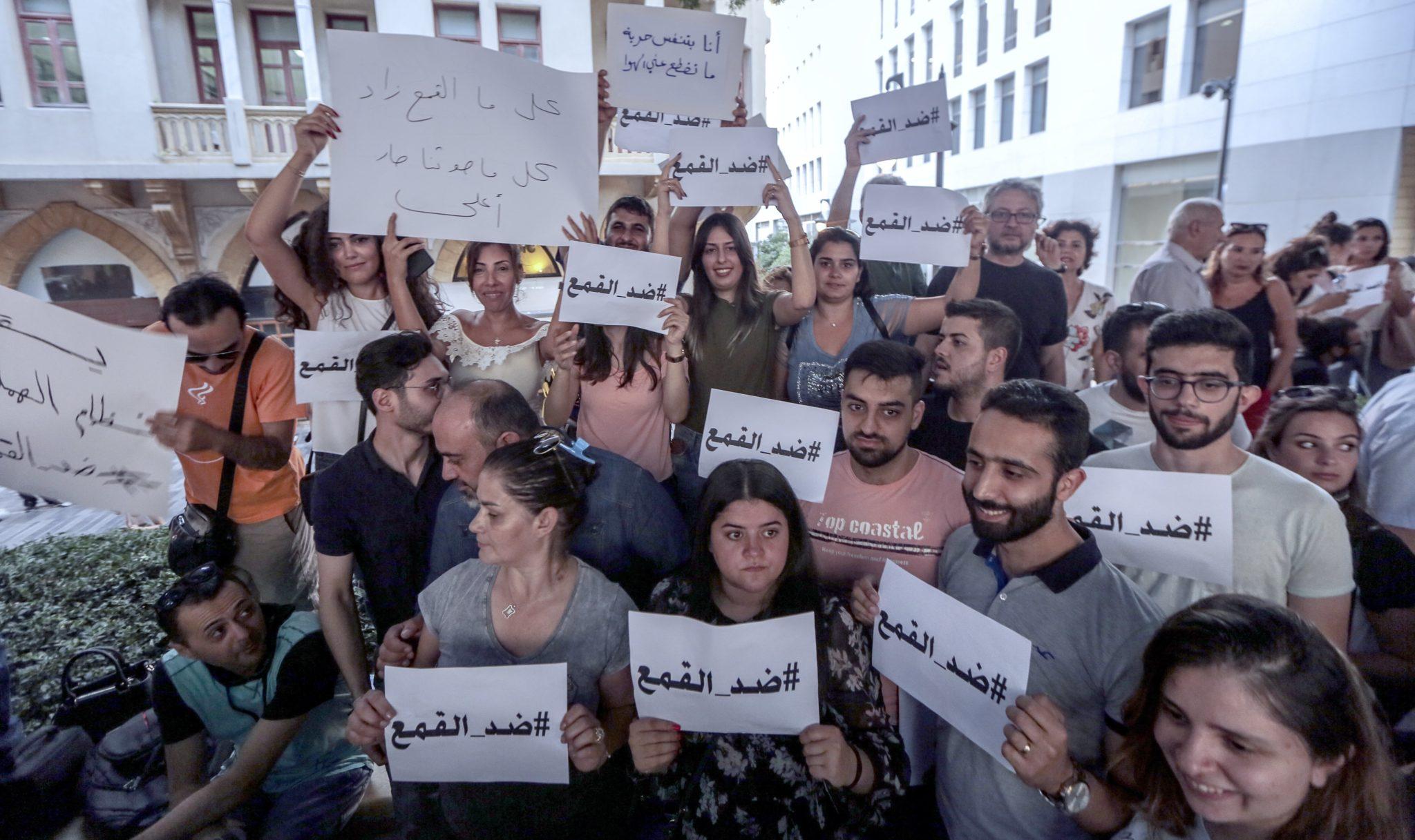 Libańscy aktywiści podczas protestu