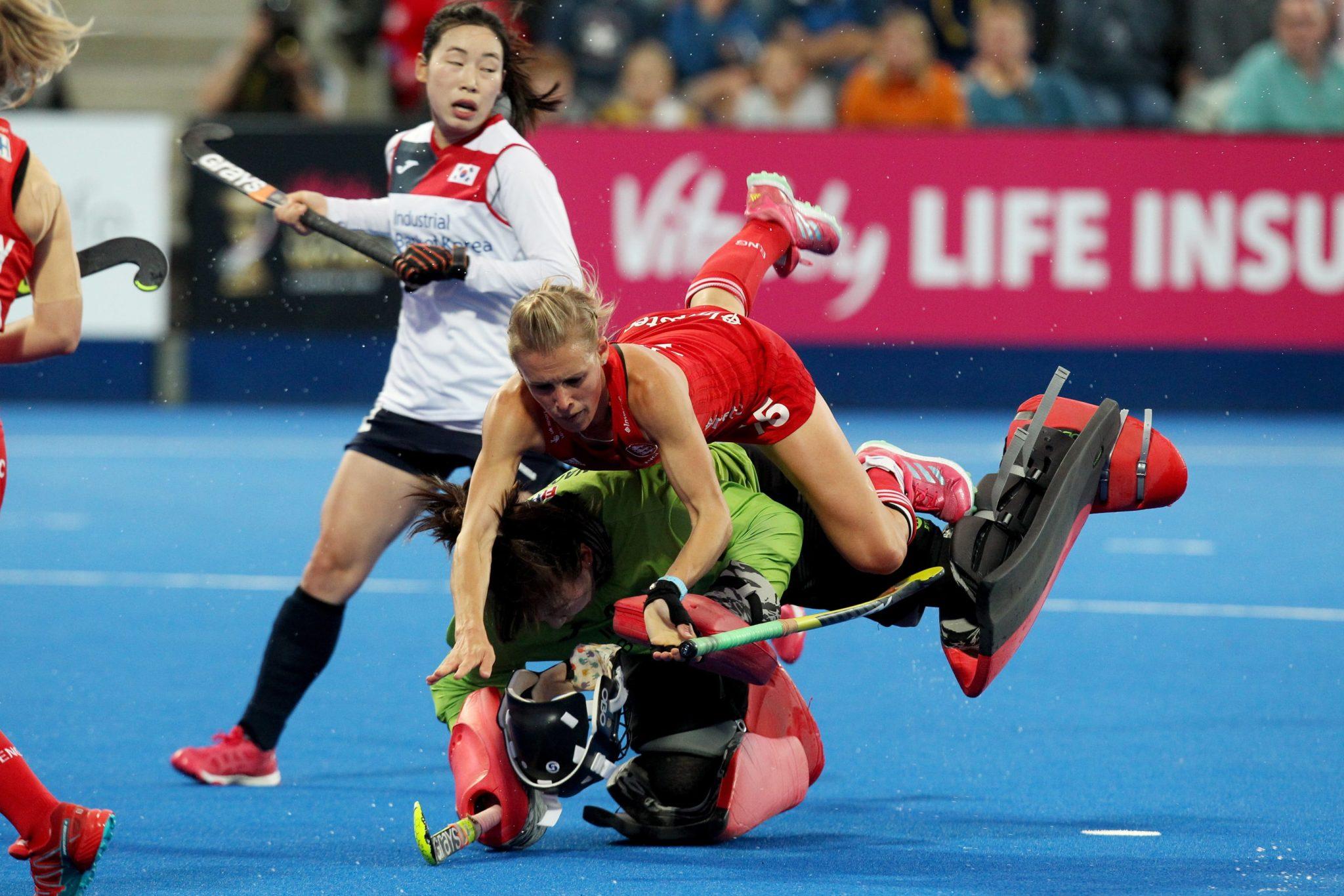 Meczu Pucharu Świata kobiet w hokeju na trawie pomiędzy Anglią a Koreą Południową w Lee Valley Hockey Center, Queen Elizabeth Olympic Park w Londynie, fot. Sean Dempsey, PAP/EPA