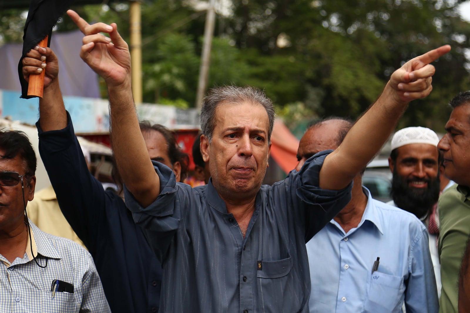 Protest dziennikarzy w Pakistanie fot. EPA/SHAHZAIB AKBER
