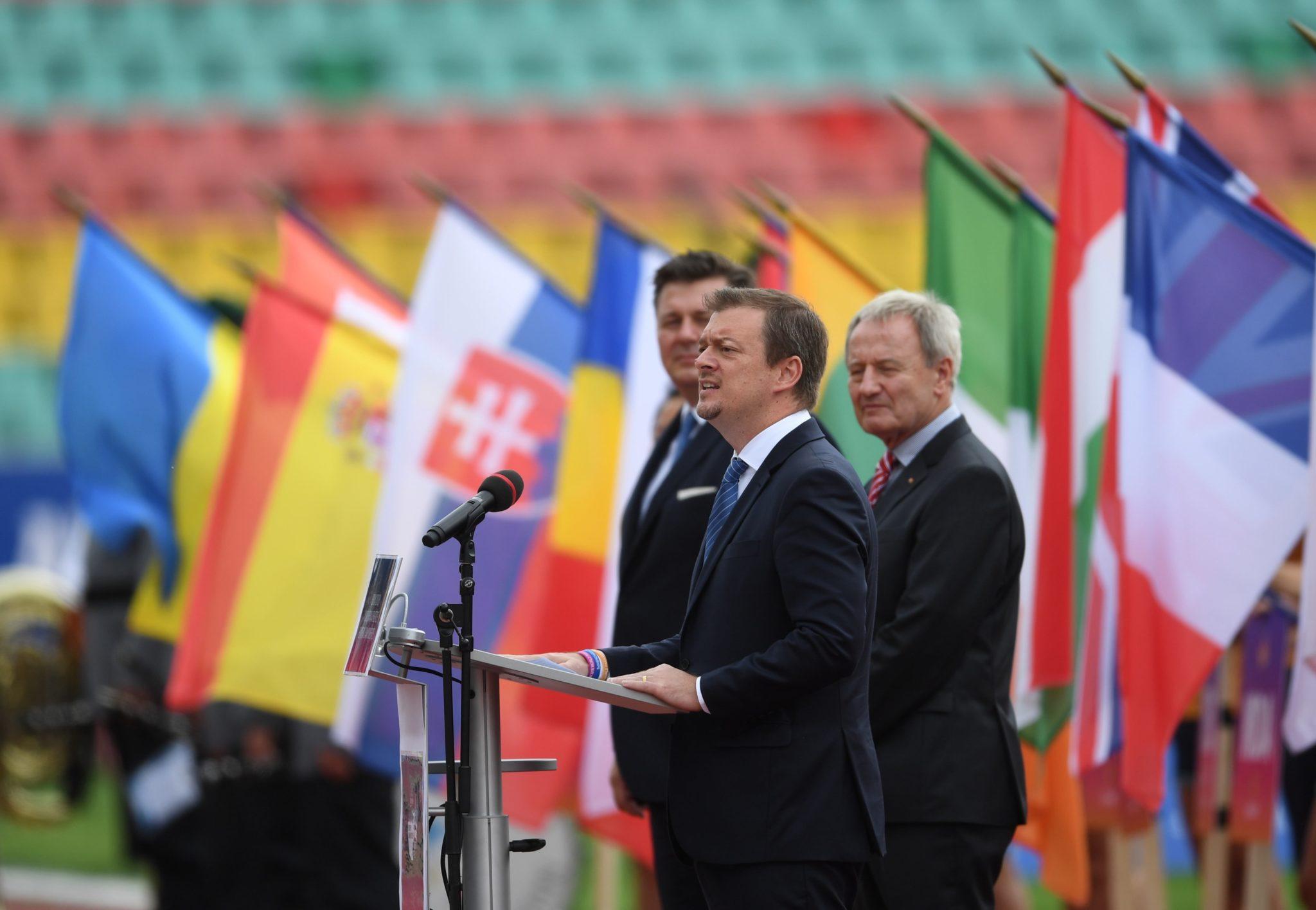 Przewodniczący Międzynarodowego Komitetu Paraolimpijskiego Andrew Parsons podczas ceremonii otwarcia lekkoatletycznych mistrzostw Europy osób z niepełnosprawnością