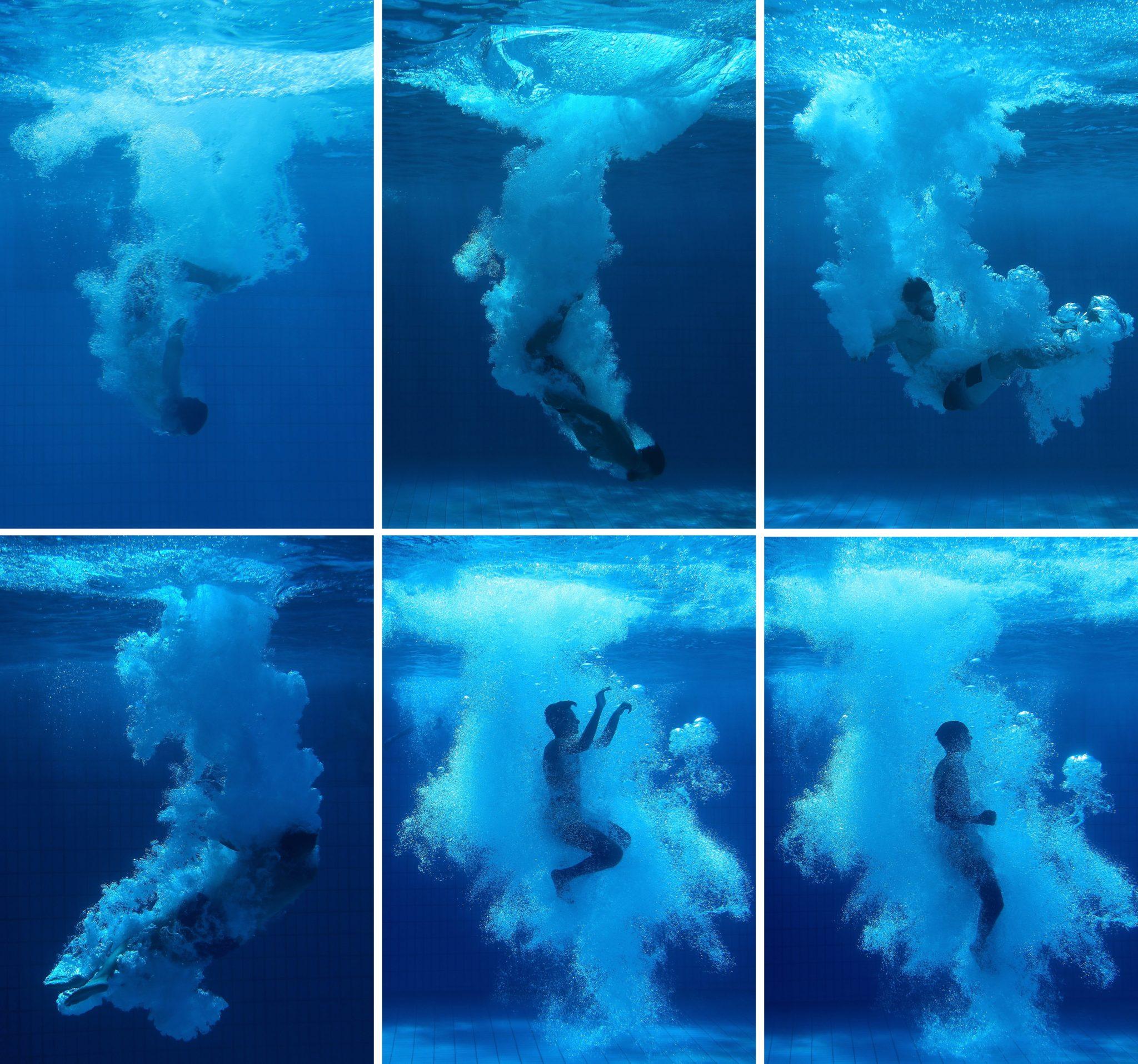Niemcy: obraz - kompozycja przedstawia osoby pod wodą podczas różnych faz ich nurkowania na odkrytym basenie