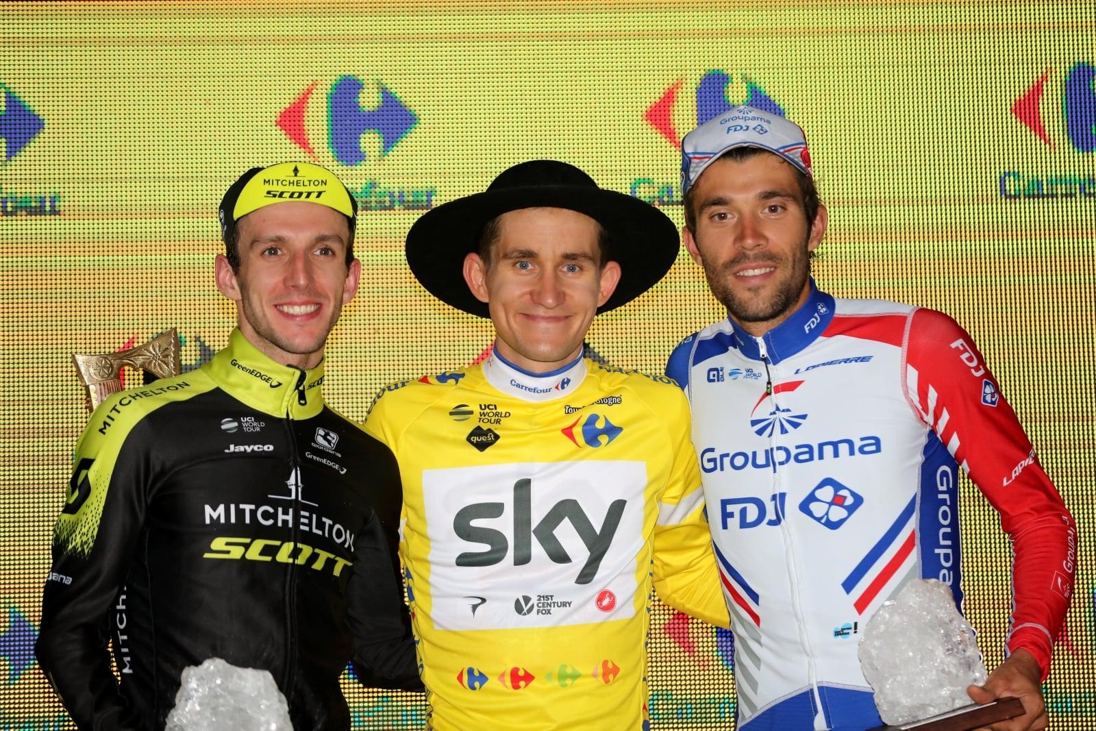 Bukowina Tatrzańska,  Najlepsi kolarze klasyfikacji generalnej 75. wyścigu Tour de Pologne - od lewej: Brytyjczyk Simon Yates Scott (drugie miejsce), Polak Michał Kwiatkowski (zwycięzca) i Francuz Thibaut Pinot (trzecie miejsce), PAP/Grzegorz Momot