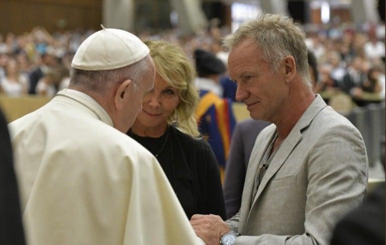 Sting na spotkaniu z papieżem Franciszkiem fot. Gloria.TV