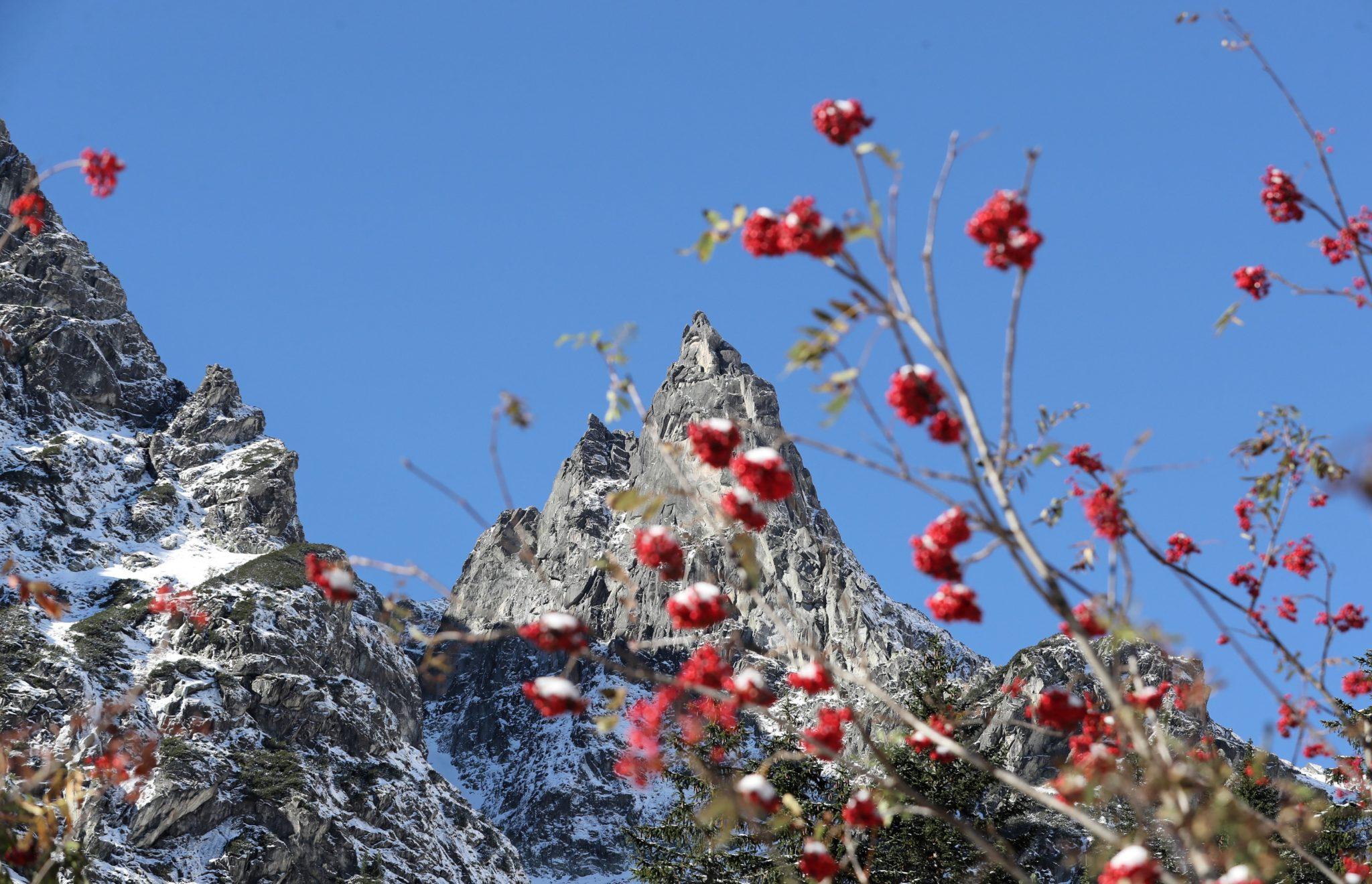 Morskie Oko, Tatry: jesienno-zimowy poranek nad Morskim Okiem, fot. Grzegorz Momot, PAP