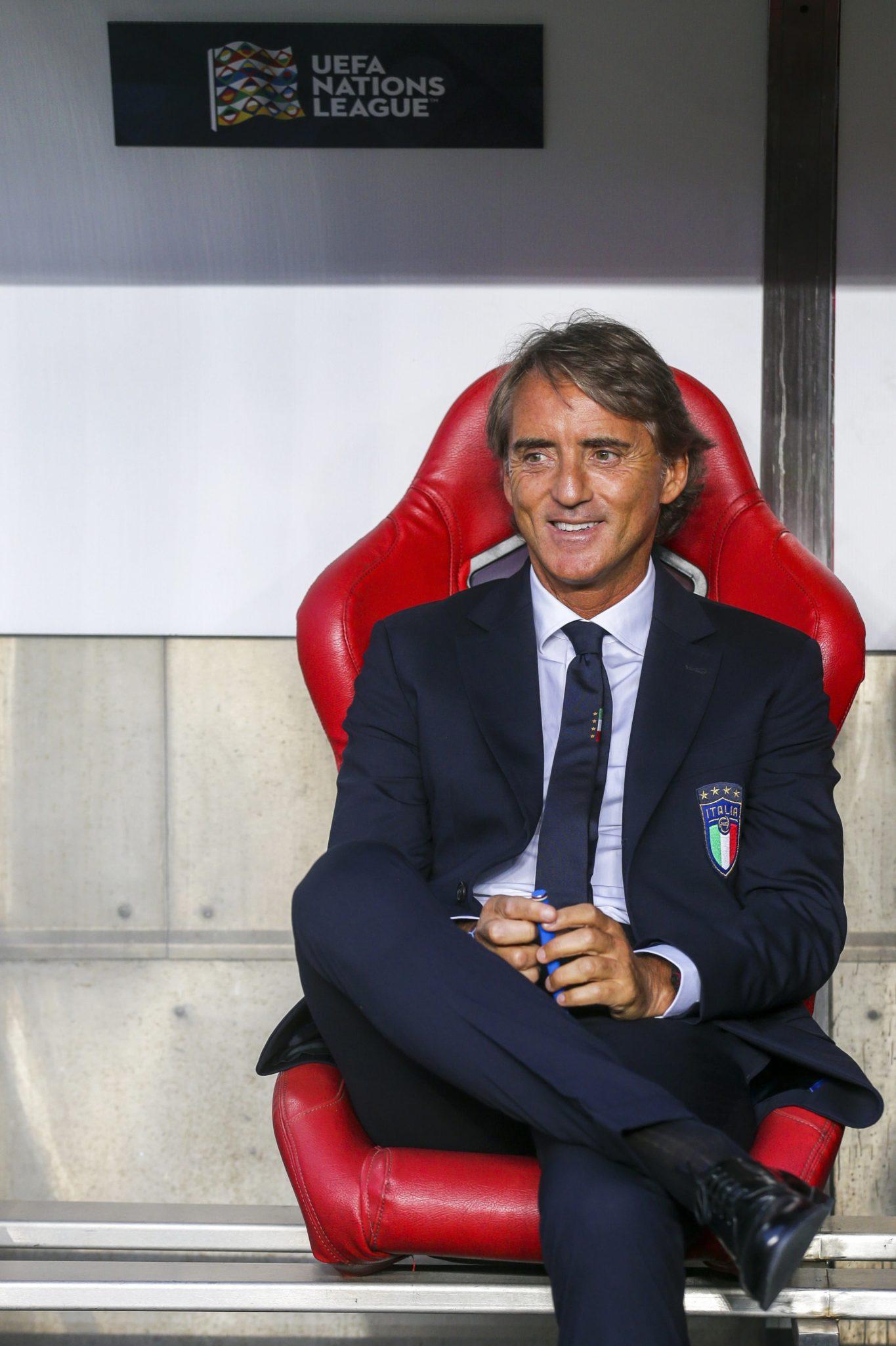 Trener Włoch Roberto Mancini przed meczem Ligi Narodów UEFA pomiędzy Portugalią i Włochami w Lizbonie, fot. Jose Sena Goulao, PAP/EPA