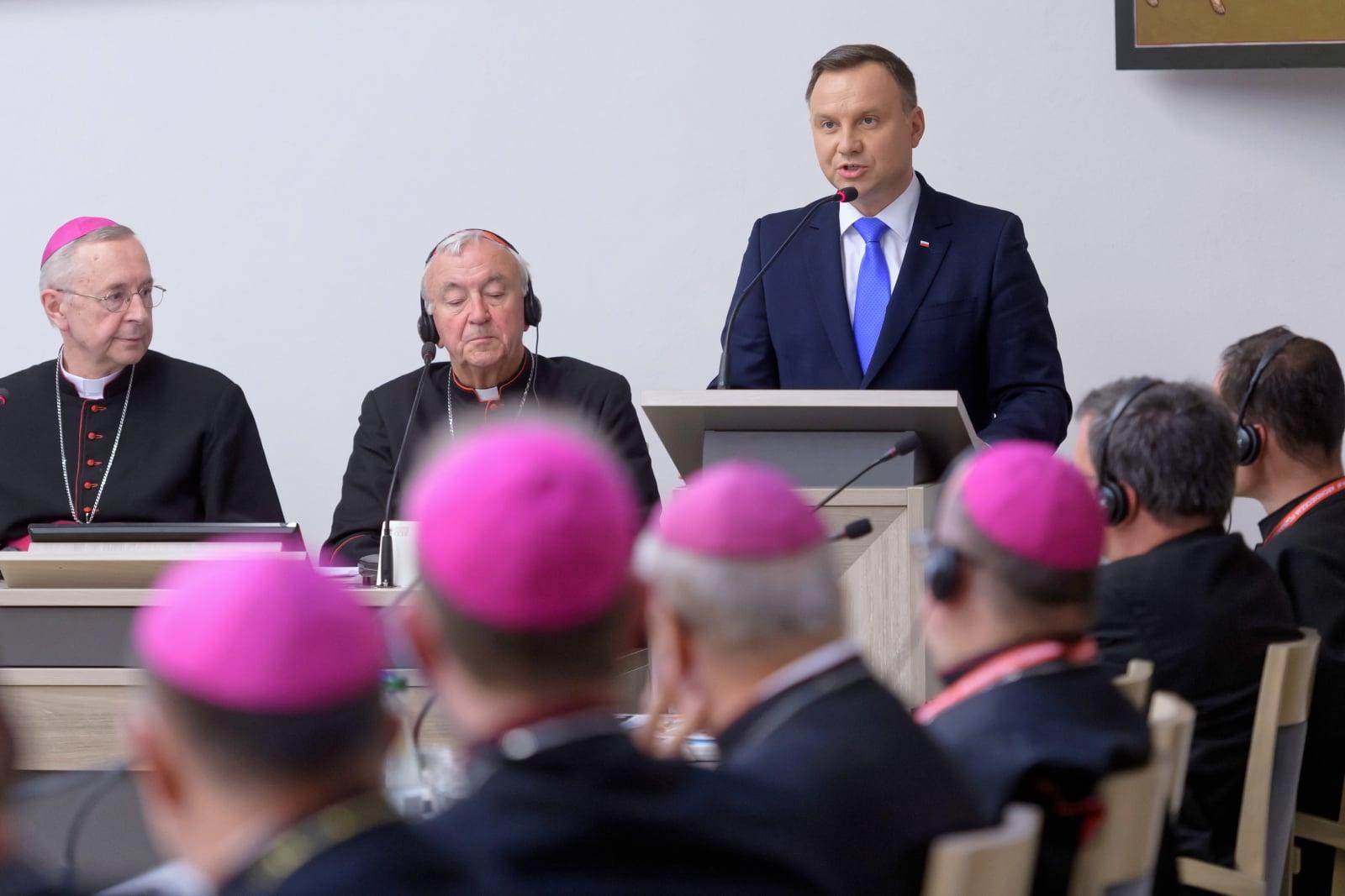 Andrzej Duda podczas obrad Zebrania Plenarnego Rady Konferencji Episkopatów Europy (CCEE, Consilium Conferentiarum Episcoporum Europae),  w Poznaniu.