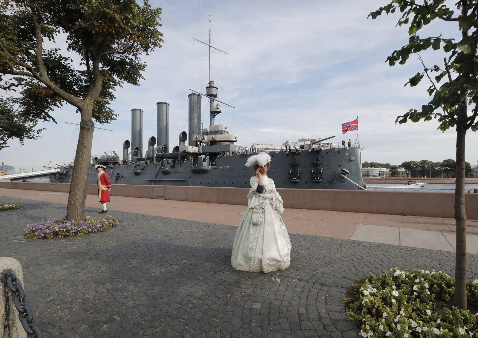 Krążownik Aurora fot. EPA/ANATOLY MALTSEV