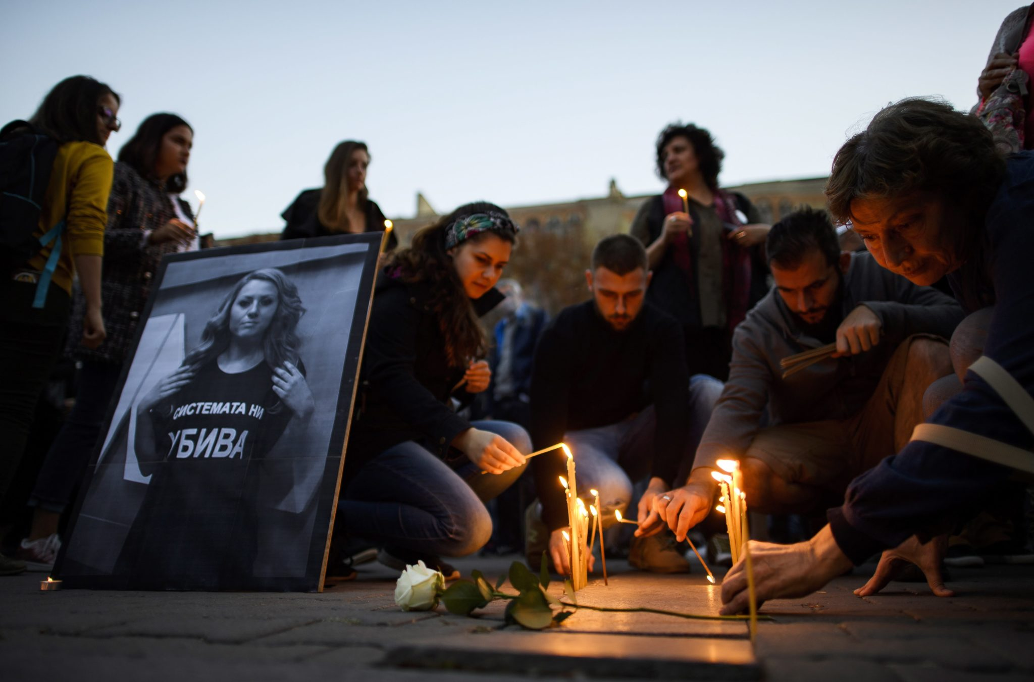 Protesty i modlitwy po zabójstwie dziennikarki Viktorii Marinowej, fot. Vasill Donev, PAP/EPA