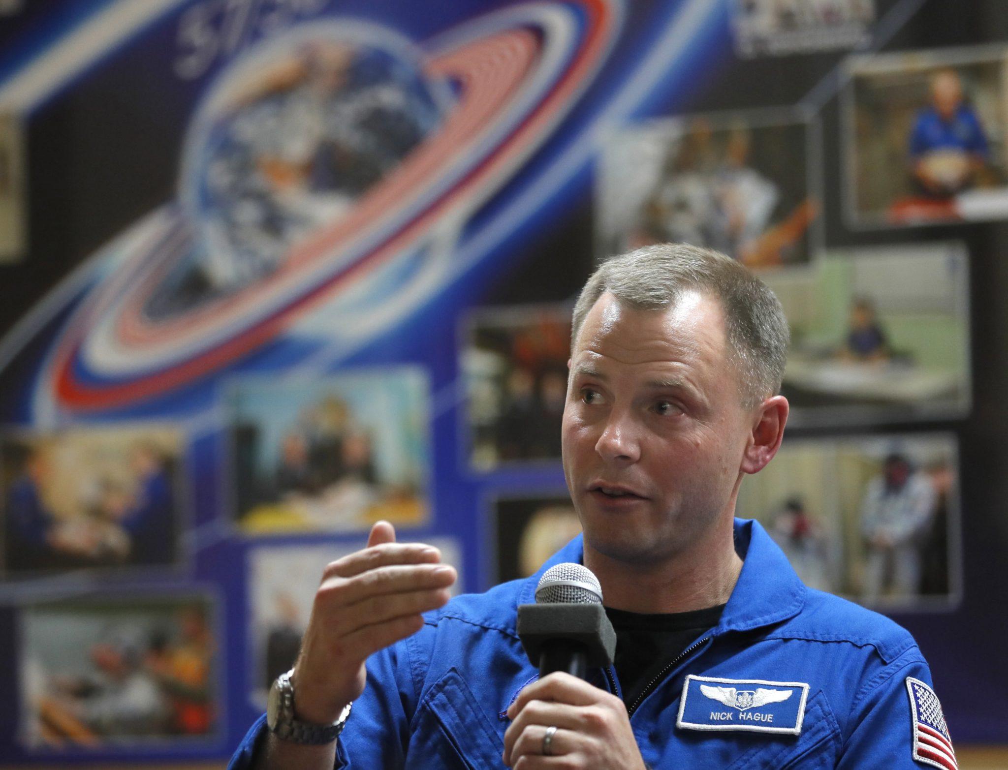 Międzynarodowa (rosyjsko-amerykańska) Stacja Kosmiczna 57/58 - konferencja prasowa w kosmodromie Bajkonur w Kazachstanie, fot. Yuri Kochetkov, PAP/EPA