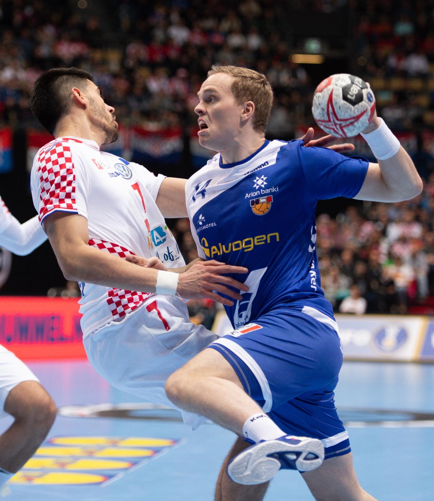 Mistrzostwa Świata w piłce ręcznej mężczyzn - mecz między Islandią a Chorwacją w niemieckim Monachium. Fot. PAP/EPA/DANIEL KOPATSCH