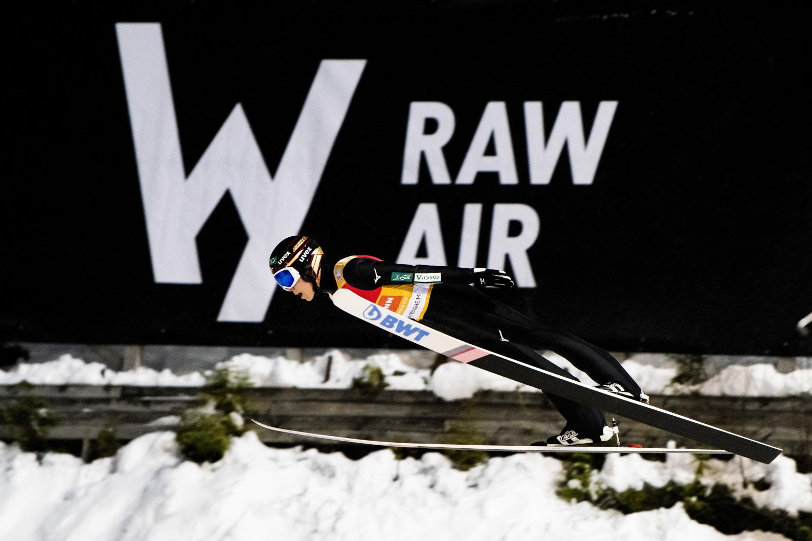 Ryoyu Kobayashi w trakcie turnieju Raw Air. Fot. PAP/EPA/Ole Martin Wold