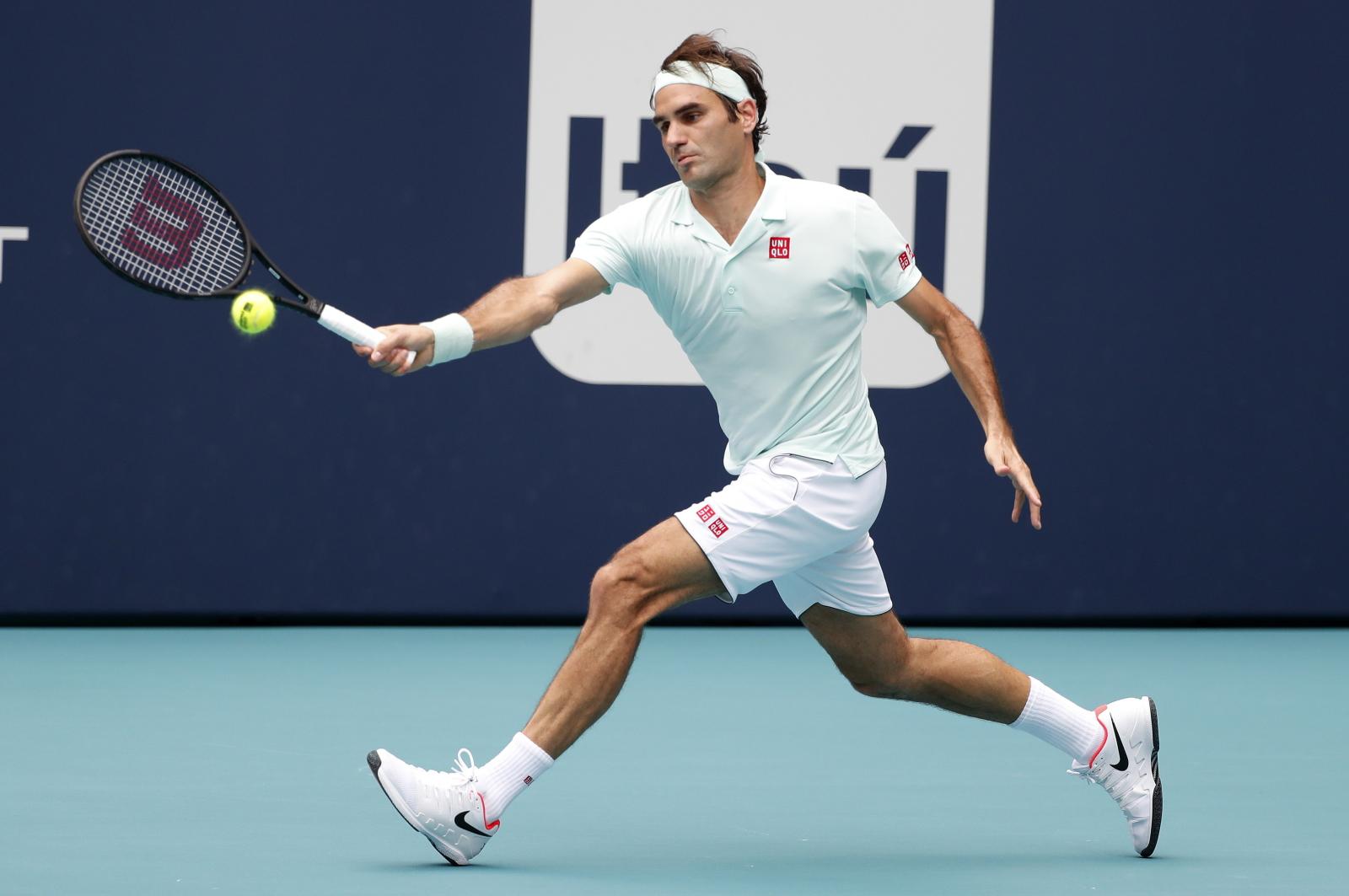 Roger Federer podczas Miami Open. Fot. PAP/EPA/RHONA WISE