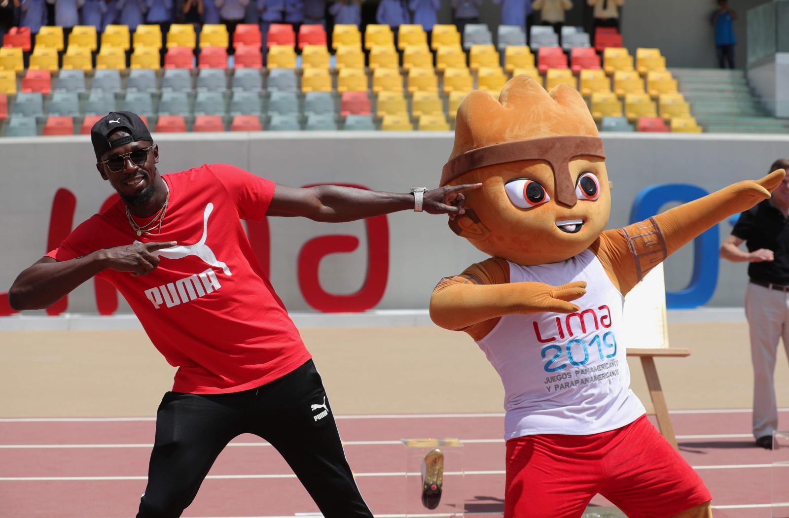 Usain Bolt odwiedził Limę, stolicę Peru. Fot. PAP/EPA/Ernesto Arias