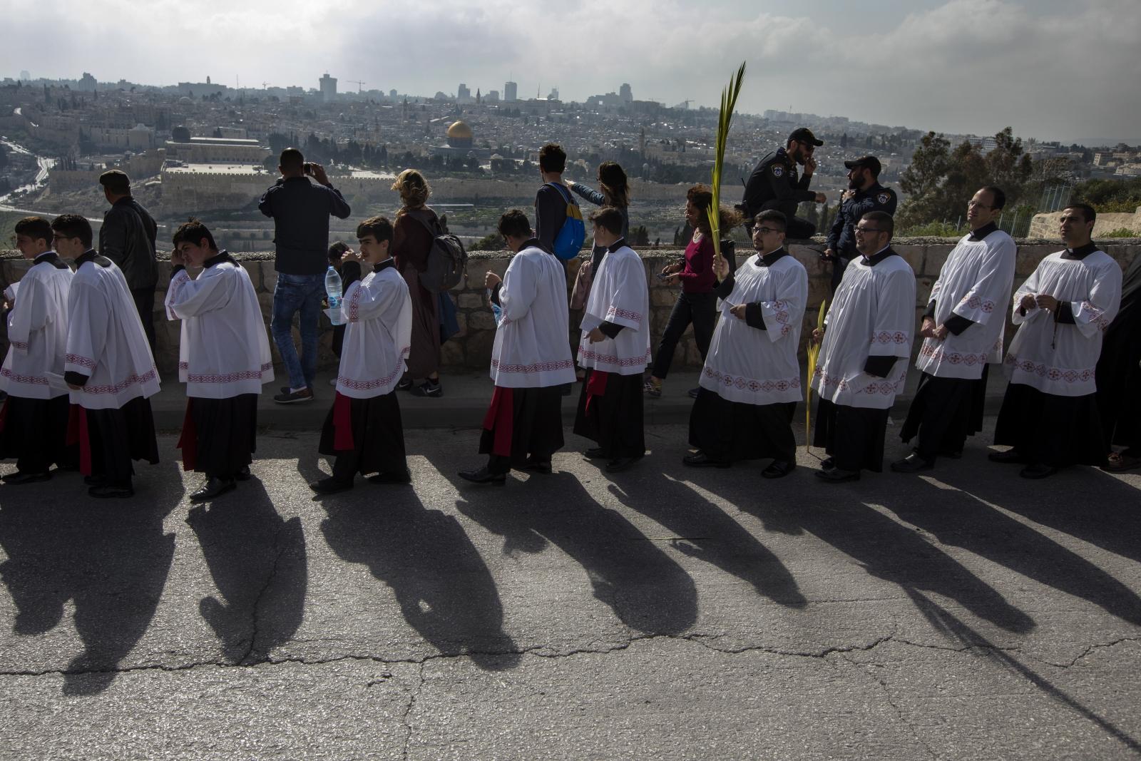 Niedziela Palmowa w Jeruzalem/EPA/JIM HOLLANDER