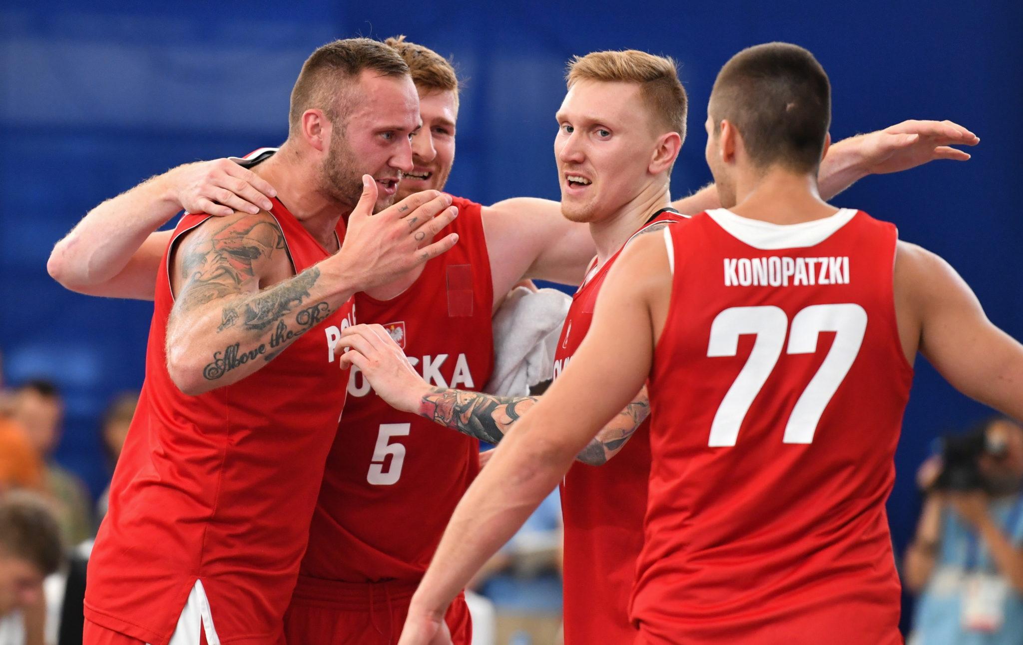 Polacy w meczu koszykówki 3x3 z reprezentacją Litwy, fot. Piotr Nowak, PAP