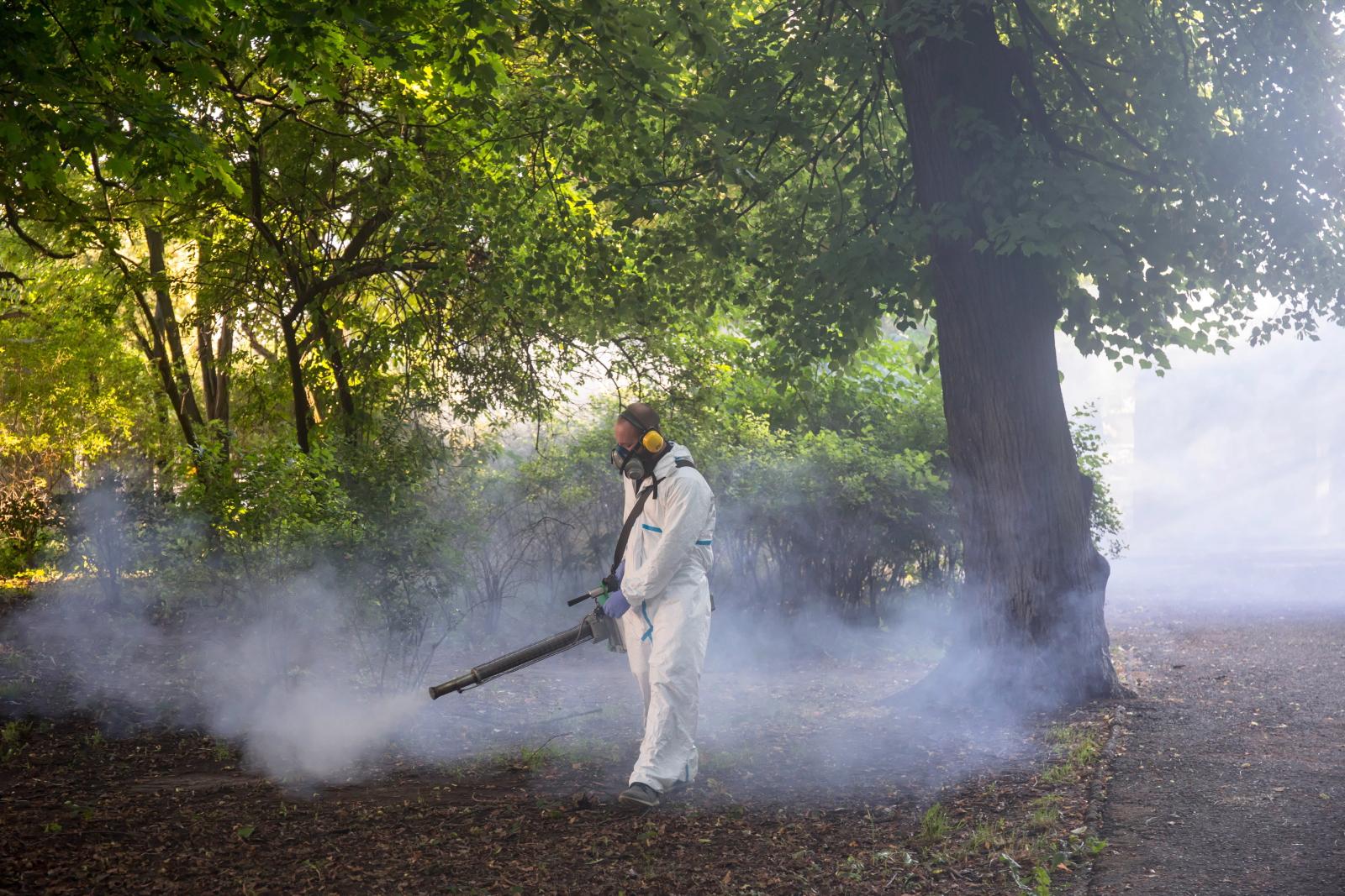 Odkomarzanie w Parku Bronowickim w Lublinie. Około 200 ha terenów zielonych w Lublinie obejmie rozpoczęta akcja odkomarzania. Wykorzystywany będzie do tego preparat zwalczający komary, ale też meszki i kleszcze - nieszkodliwy dla ludzi. Fot. PAP/Wojtek Jargiło