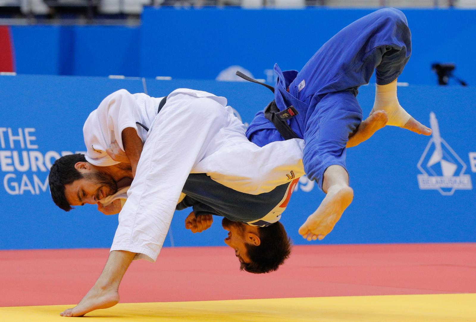 Zawody Judo w trakcie Europejskich Igrzysk w Mińsku. Fot. PAP/EPA/SERGEY DOLZHENKO