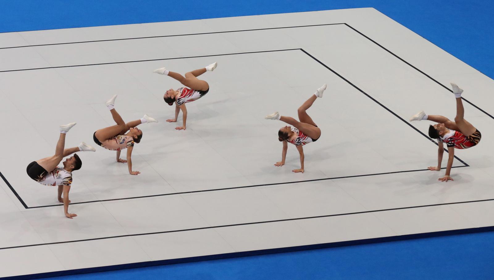 Hiszpańska grupa gimnastyczna w Igrzyskach Europejskich w Mińsku. Fot. PAP/EPA/TATYANA ZENKOVICH