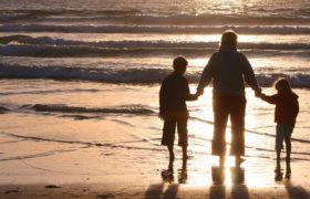 rodzina, dzieci, mama, morze