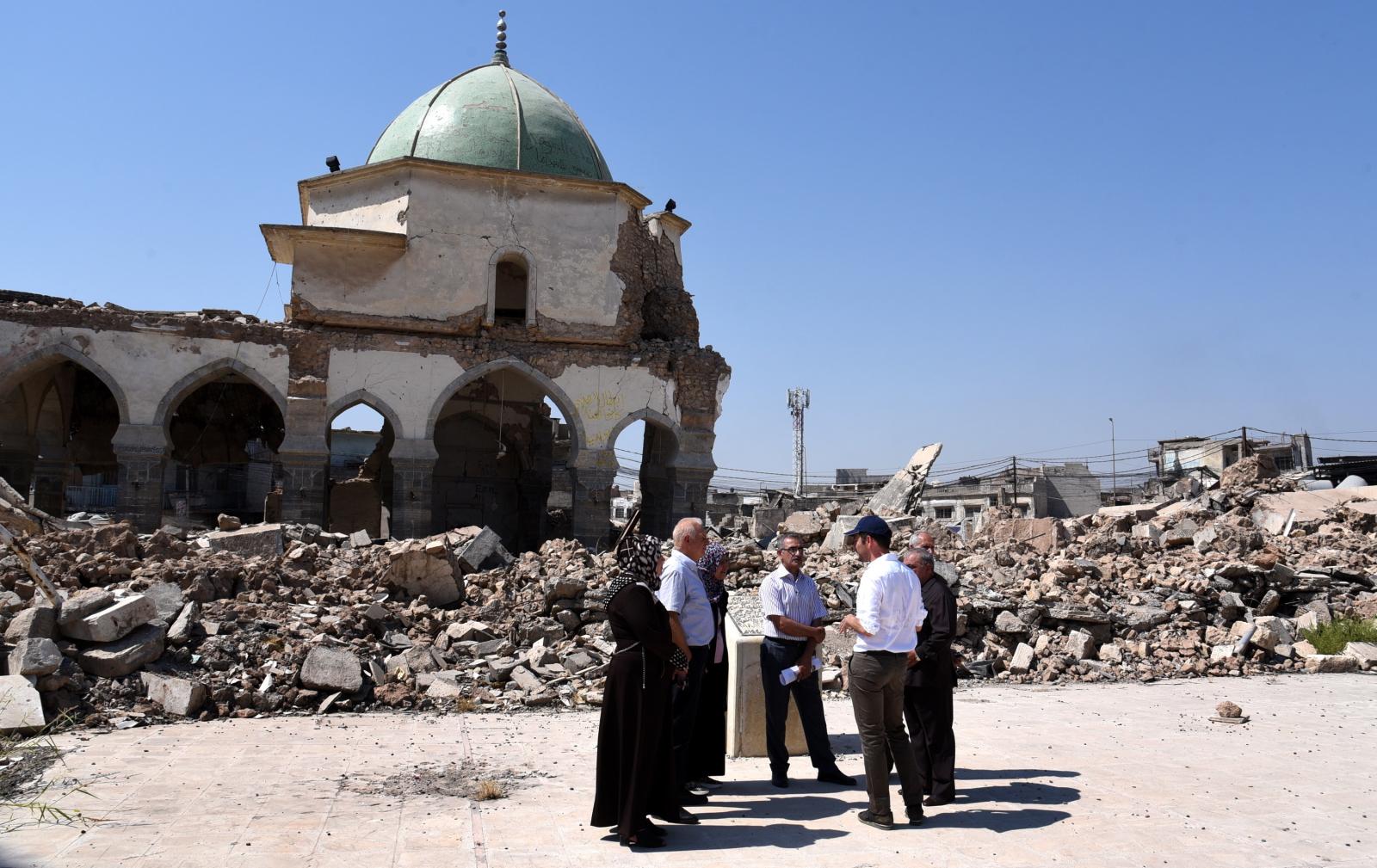 Spotkanie UNESCO w celu rekonstrukcji zabytkowego meczetu Fot. EPA/AMMAR SALIH