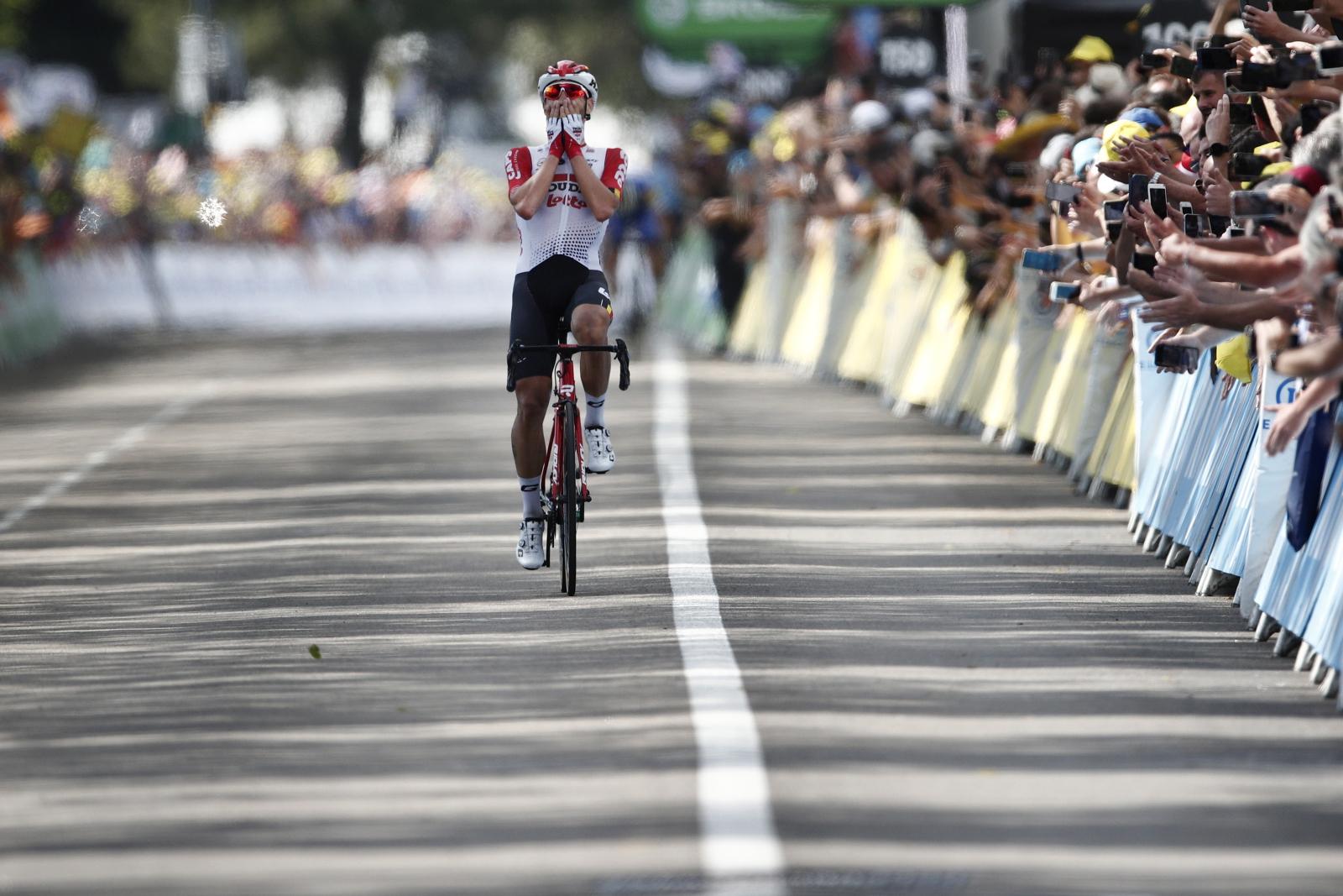 Thomas de Gendt wygrywa 8 etap Tour de France. PAP/EPA/YOAN VALAT