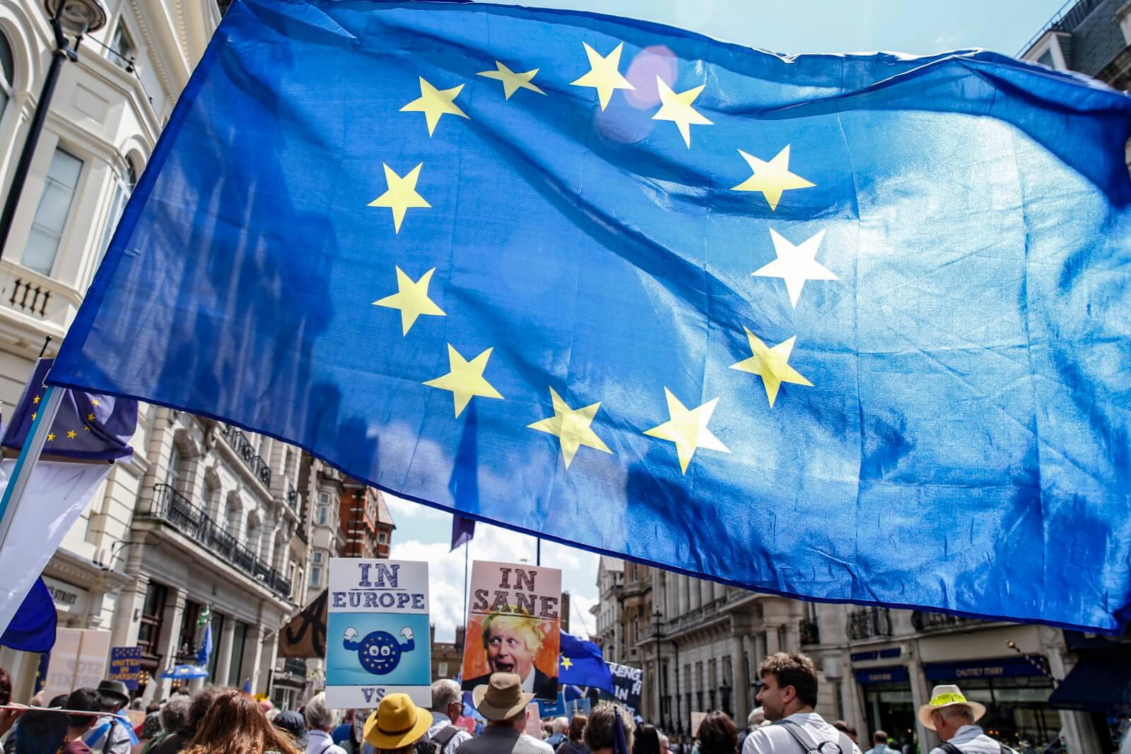 Prounijne manifestacje w Wielkiej Brytanii fot. EPA/HOLLIE ADAMS