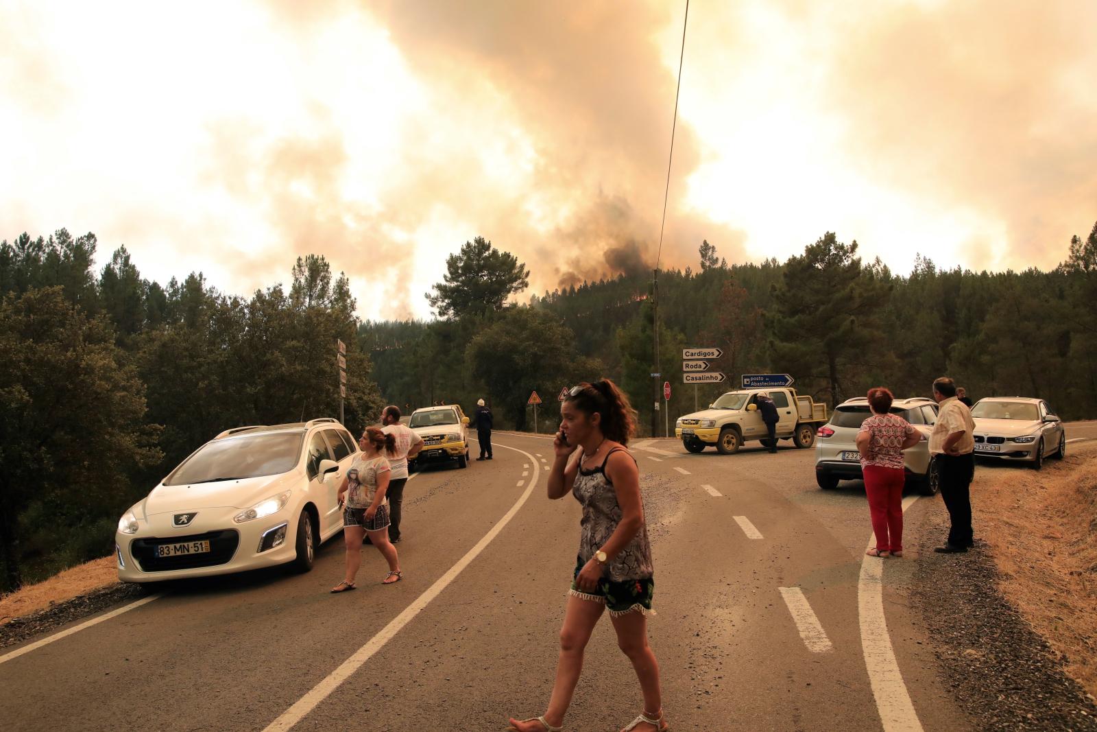 Pożar lasu w Portugalii. Fot. PAP/EPA/CARLOS GARCIA