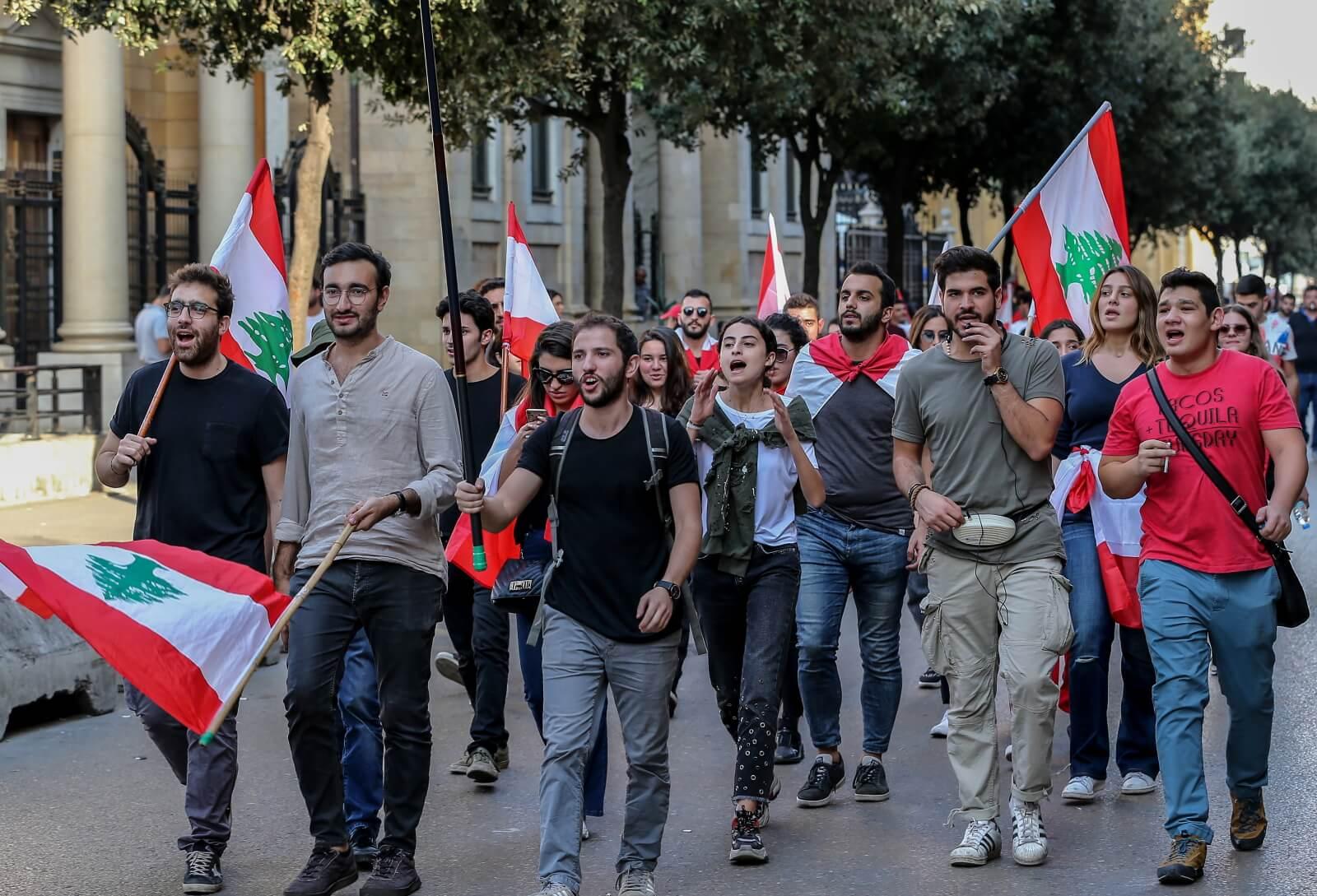 Protesty studentów w Lebanonie fot. EPA/NABIL MOUNZER