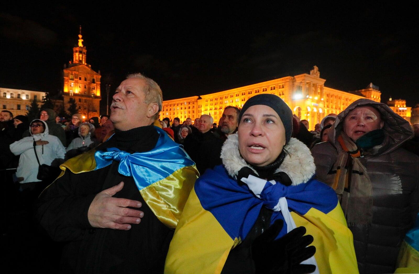 Rocznica tzw. Euromajdanu w Kijowie fot. EPA/SERGEY DOLZHENKO