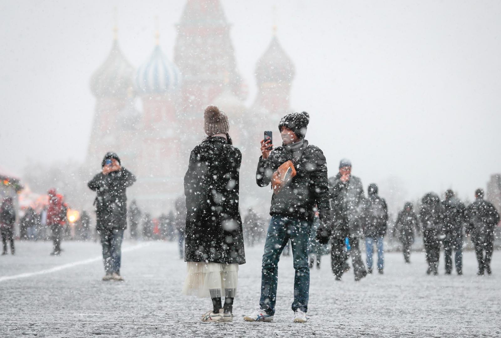 Zimowa Moskwa fot.  PAP/EPA/YURI KOCHETKOV