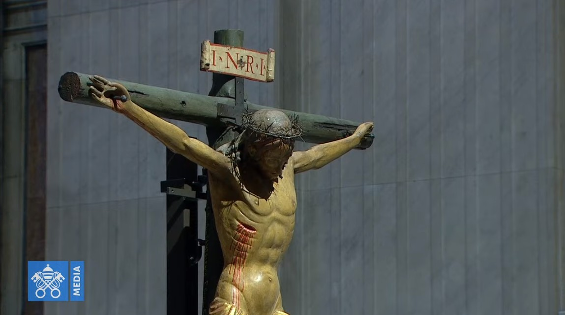 Liturgia Wielkiego Piątku w Watykanie Fot. youtube/Vatican Media Live