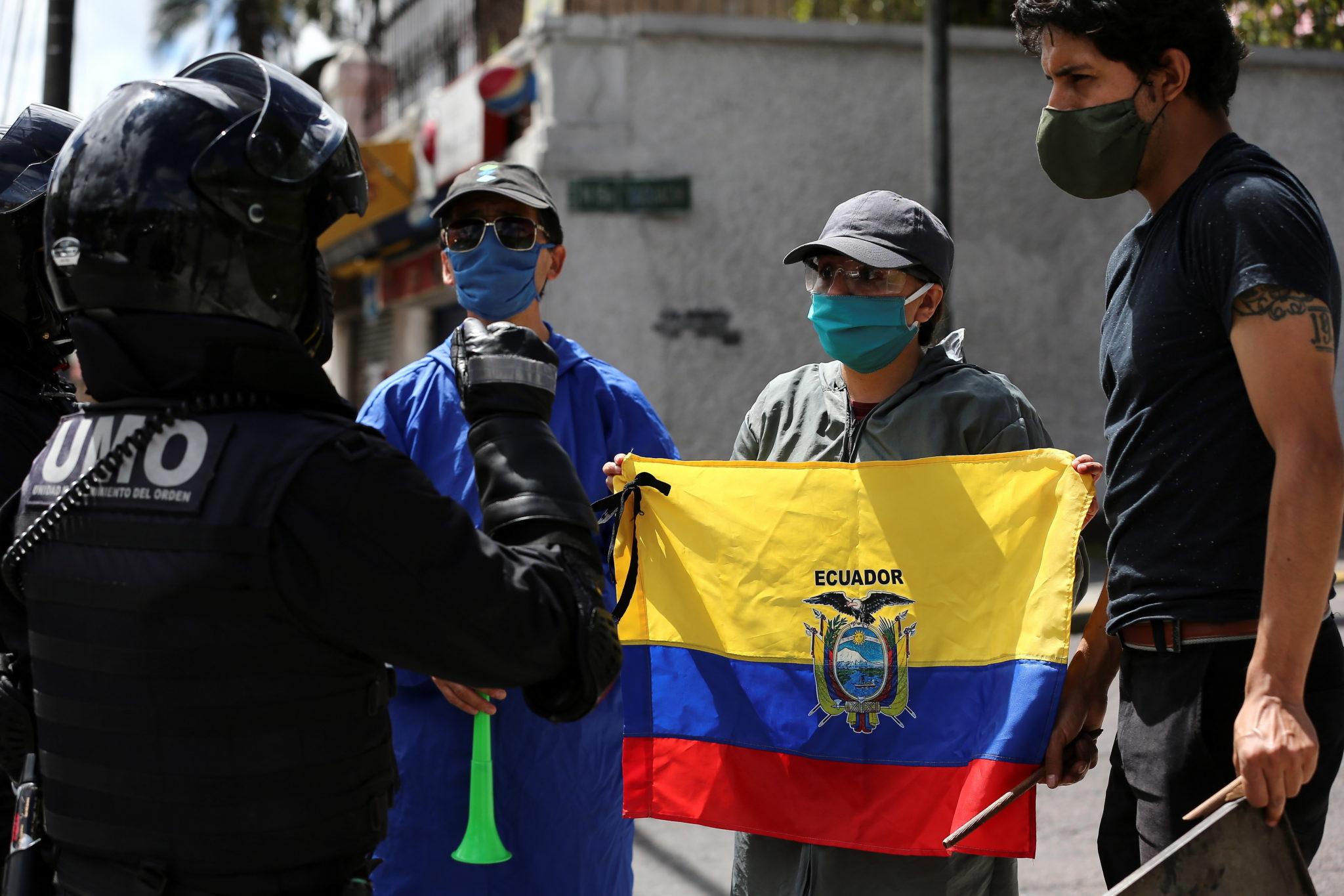 Quito, Ekwador: protest przeciwko prezydentowi kraju, fot. EPA /Jose Jacome